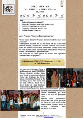 Unser erster Newsletter